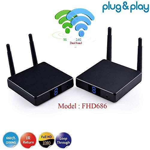 measy FHD686 2,4 G / 5 G 1080 P Wireless HDMI Video Audio Sender Empfänger bis zu 200 M HDMI Converter IR Extender nterstützung 9 Kanal