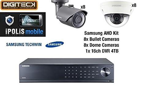 Samsung 16 Camera 8 Dome & 8 Bullet CCTV Camera Kit & 16 Channel DVR 4TB HDD Analog HD 1080p Plug&Play Outdoor Weatherproof