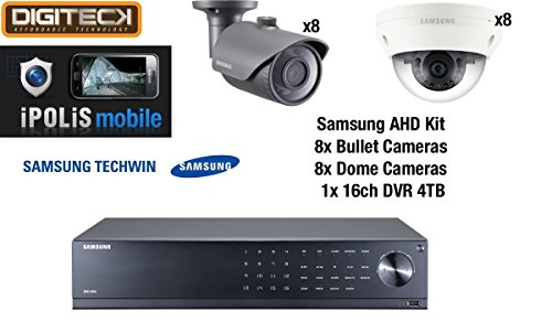 Samsung 16 Camera 8 Dome & 8 Bullet CCTV Camera Kit & 16 Channel DVR 4TB HDD Analog HD 1080p Plug&Play Outdoor Weatherproof Vandal-Resistant