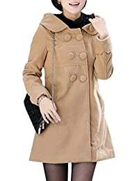 Yasong Women's Girl's Double Breasted Hooded Fleece Lined Thick Wool Coat Trench Jacket Peacoat Cape Coat