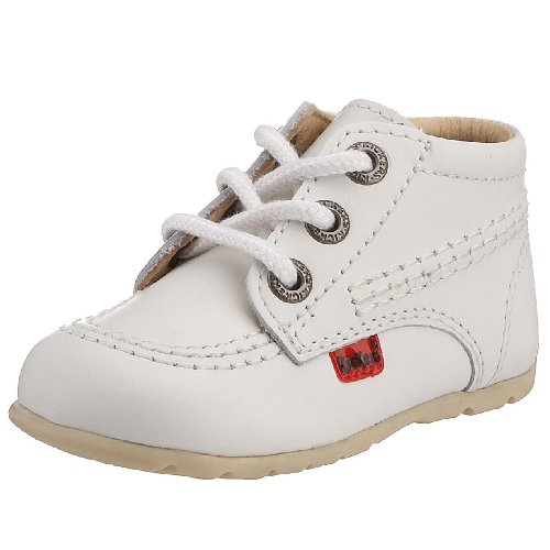 Kickers Kick Hi - Baskets - Mixte Bébé - Blanc (White/White/Natural) - 20 EU