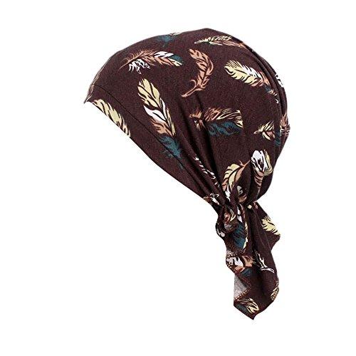 men Elastischer Baumwollhut Frauen Moslemischer Turban Damen Mütze Muslim Kopftuch Drucken Chemo Kopfbedeckung Kopftuch Hut für Haarausfall Krebs,Chemotherapie ()