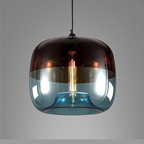EasyGame-Einzigartige Optic zeitgenössische mundgeblasenem Glas Pendelleuchte, Decke hängende Leuchten, hellblau, 25cm (hellgrau blau)