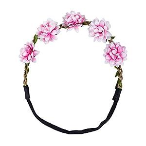 SIX Kids Haarband, Haarschmuck, Blumenkranz, Kopfband, Accessoire, Blumen, Blüten, rosa, grün (306-188)