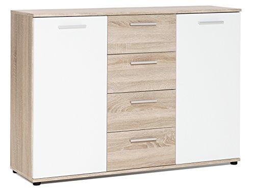 """Sideboard Standschrank Anrichte Beistellschrank Highboard Kommode \""""Jacklin I\"""" Sonoma-Eiche/Weiß"""
