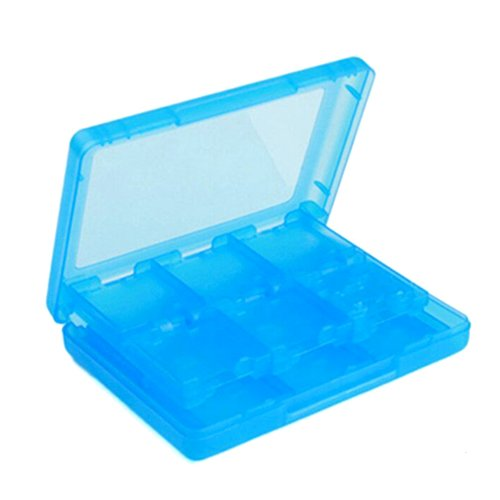 Electro-weideworld Blau 3DS Spiel Kassettenboxen Dekorative Accessoires Spielkassette Schutzhülle 28 Eine Karte Pack 3DSll Plastic Crystal Hard Case Protective Cover Fur Nintendo 3DS (Sandwich-karte-spiel)