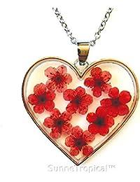 7a793c4e7263 SunneTropical Mujeres Corazón no me Olvides Amor Collar de Flores de la  Amistad de Corazón Colgante