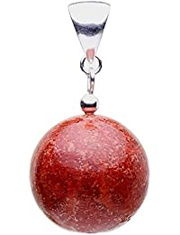 Anhänger Kugel aus Koralle Schaumkoralle Kugel & 925 Silber rot rotbraun glatt Damen