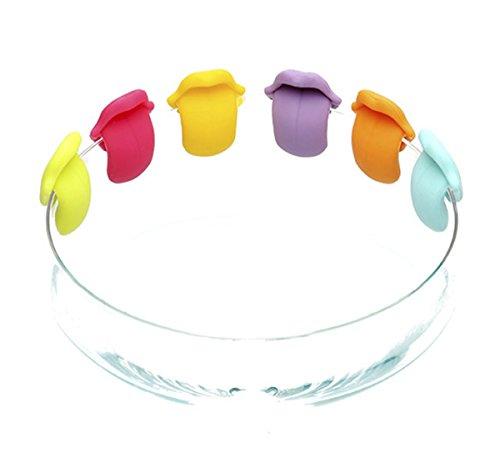6er Set Zunge Form Teebeutel Halter Silikon Teebeutelhalte Tassenrand Deko;6 farben