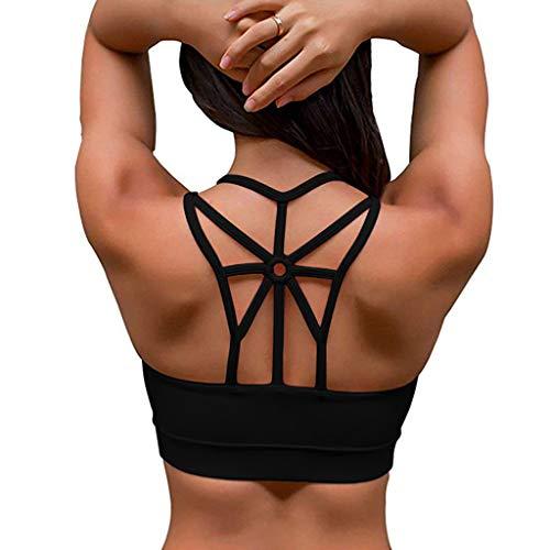 Abnehmbare Strumpfbänder Und Thong (KUDICO Damen Sport BH Komfort Gepolstert Elastizität Bustier Yoga Bralette ohne Bügel Atmungsaktiv Sports Bra Top Unterwäsche)