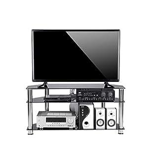 tavr meuble tv d 39 angle en verre tremp noir support de gestion des c bles pour s 39 adapter pour. Black Bedroom Furniture Sets. Home Design Ideas