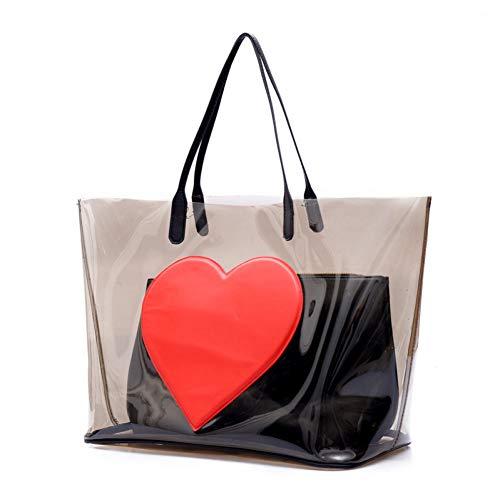 M\'SM Transparente Einkaufstasche Damen Kristall Große Strandtaschen Love-Heart Jelly Bags Wasserdichte Große Umhängetaschen,Transparent