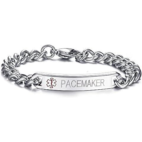 LianDuo in acciaio inox sottile personalizzati Medical Alert ID braccialetto libero di Incisione Wristband argento (Fortunato Braccialetto Della Pietra Preziosa)