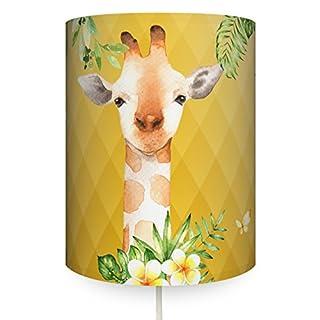 anna wand Wandlampe GIRAFFE CURRY – Wandlampenschirm mit Stoffkabel zum Aufhängen für Kinder/Baby Lampe mit Giraffe in versch. Farben – Sanftes Licht im Kinderzimmer Mädchen & Junge