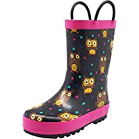NORTY Toddler Girls Owls Print Waterproof Rainboot, Black, Fuchsia 40141-6MUSToddler