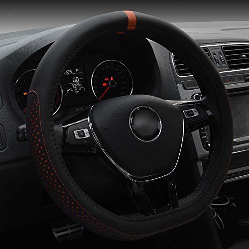 FUBULECY D-Art-Kunstleder-Lenkrad-Abdeckung für Volkswagen Golf Sagitar 38CM (Farbe : Orange)