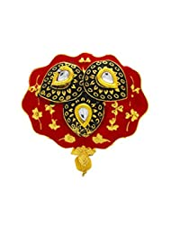 Anuradha Art Red Colour Designer Classy Studded Sparkling Shimmering White Colour Stone Brooch /Sari Pin For Women