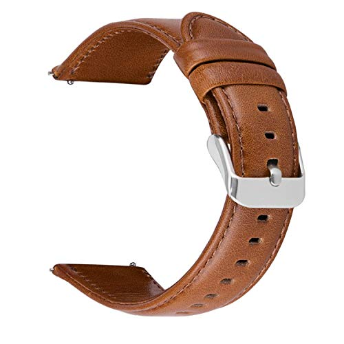 iBazal 22mm Armband Leder Uhrenarmband Lederarmband Armbänder Ersatz für Samsung Galaxy 46mm, Gear S3 Frontier/Classic,Huawei GT/2 Classic/Honor Magic,Ticwatch Pro Herren Bands Uhrarmband - Braun (Watch Band Smart Leder)