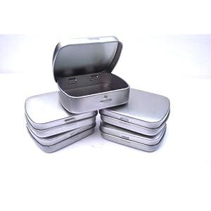 4157Rh3SVEL. SS300  - MD FlashLights Etc Ltd 5 x Silver Micro/Mini Hinged Mint/Storage Tins