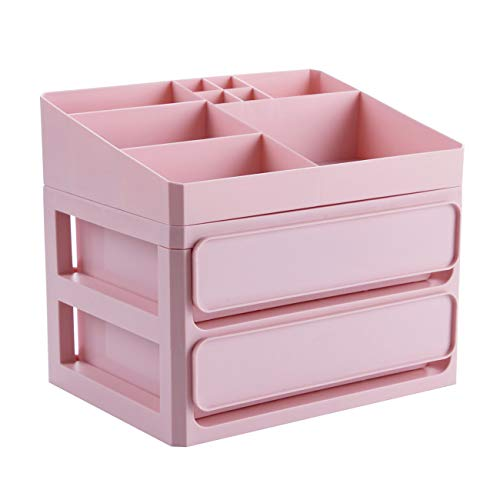 Badezimmer Eitelkeiten Schubladen (Dreamy Life Kosmetik-Vitrine mit großer Kapazität und Schubladen, Schmuck-Aufbewahrungsbox-Halter, Eitelkeits-Badezimmer-Schönheits-Organisator, Rosa)