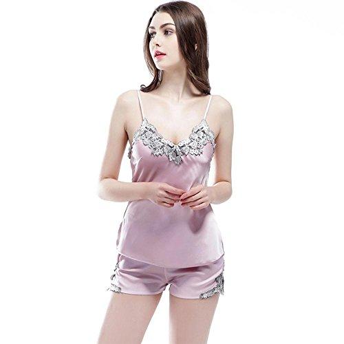 Ms. nutzen Pyjamas Shorts zweiteilige Seide bestickt Strapsen volle Pyjamas Lilac