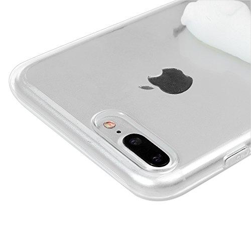 3D Silicone Coque Case pour iPhone 7 Plus - STXMALL Protection Case Housse Étui en TPU avec un 3D Animal en Silicone pour iPhone 7 PLUS 5.5 Pouce + Stylet Tacile + Antichoc Ecran iPhone 7 Plus - CHAT  CHIOT BLANC
