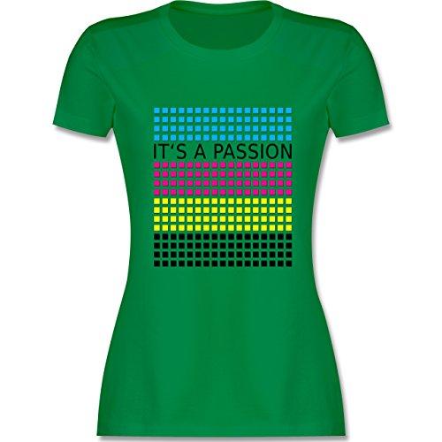 Nerds & Geeks - It's a passion - CMYK - tailliertes Premium T-Shirt mit Rundhalsausschnitt für Damen Grün