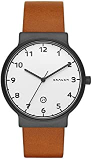 Skagen Ancher Men's Silver Dial Leather Band Watch - Skw6297, Analog Dis