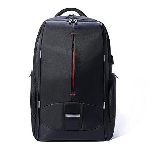 Daypack Rucksack Herren Backpack mit 17,3 zoll Laptopfach USB-Ladeanschluss für Arbeit Campus Studenten Reise Business (Schwarz)