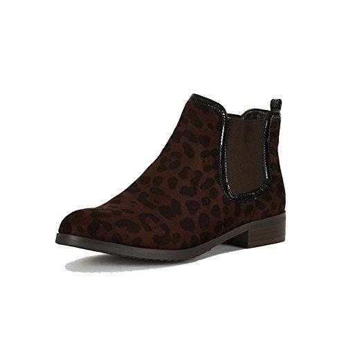 Chaussures femme suédette chelsea avec panneaux élastiques Leopard noir
