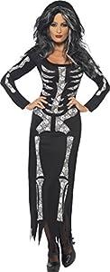 Smiffys-38873M Halloween Disfraz de Esqueleto, con Vestido ceñido de Manga Larga, Color Negro, M-EU Tamaño 40-42 (Smiffy