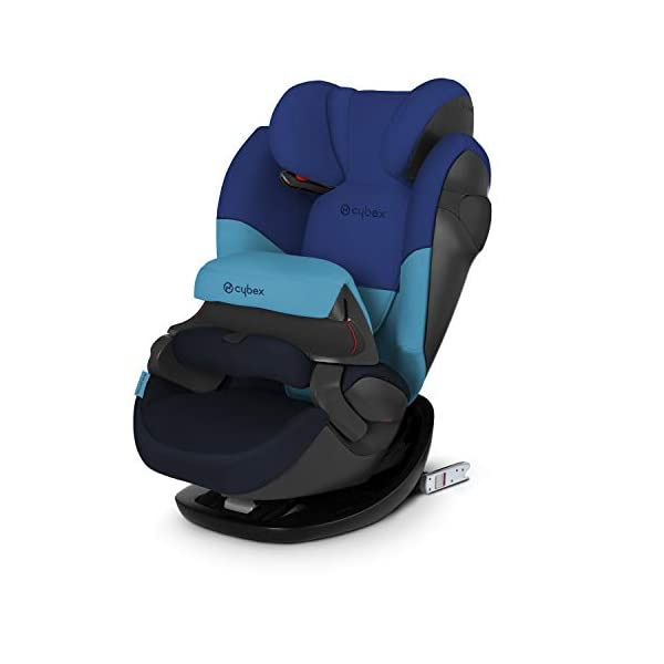 CYBEX Silver Pallas M-Fix 2-in-1 Child's Car Seat, For Cars with and without ISOFIX, Group 1/2/3 (9-36 kg), From approx. 9 Months to approx. 12 Years, Blue Moon Cybex Sturdy and high-quality child car seat for long-term use - For children aged approx. 9 months to approx. 12 years (9-36 kg), Suitable for cars with and without ISOFIX Maximum safety - Depth-adjustable impact shield, 3-way adjustable reclining headrest, Built-in side impact protection (L.S.P. System), Energy-absorbing shell 12-way height-adjustable comfort headrest, One-hand adjustable reclining position, Easy conversion to Solution M-Fix car seat for children from 3 years (group 2/3) by removing impact shield and base 1
