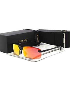 RONSOU Hombre UV400 Sin Marco Aluminio-Magnesio Polarizadas Gafas de Sol para Conducción Pescar Golf Al Aire Libre