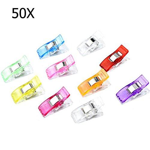 50X Klammern Nähen Stoffklammern Clips Nähen Zubehöre Nähzubehör für näharbeiten Nähmaschinenhelfer Nähklammern Kurzwaren Quilting Clips, zufällige Farben [Abmessung:27x10 mm]