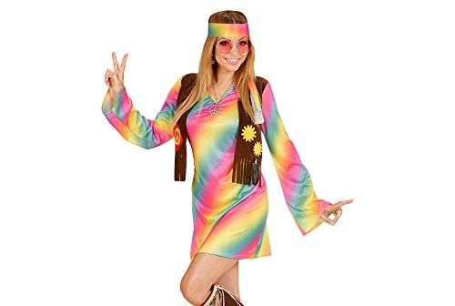 Imagen de widmann 73354–adultos disfraz hippie mujer, vestido, angenähte chaleco, pelo banda, arco iris, tamaño xl