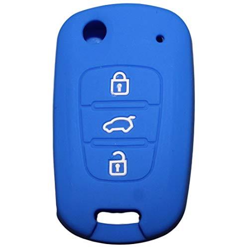 Muchkey Car Key Key Carcasa Key Shell Funda de silicona Llave protectora En forma de llave remota de 3 botones con funda protectora de silicona azul