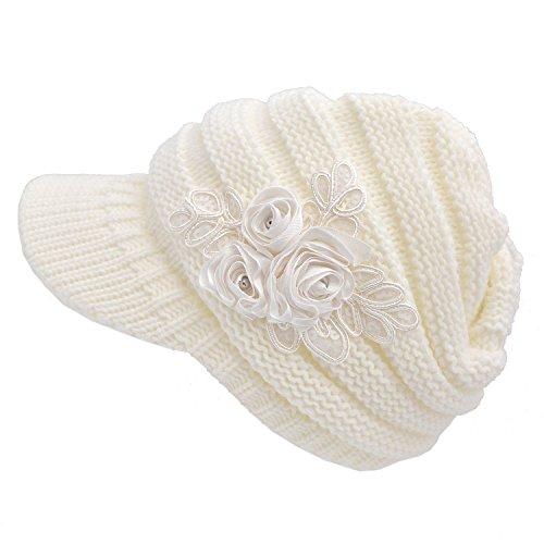 Kuyou Strickmütze mit Schild Winter Strickmütze Beanie Cap (Weiß)
