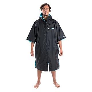 dryrobe Advance Adult Changing Robe - Short Sleeve Change Poncho/Dry Robe Large Black/Blue