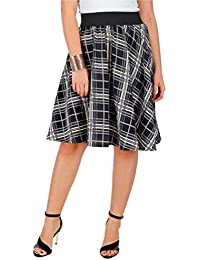 BLACK & GREY CHECK PRINT SKIRT