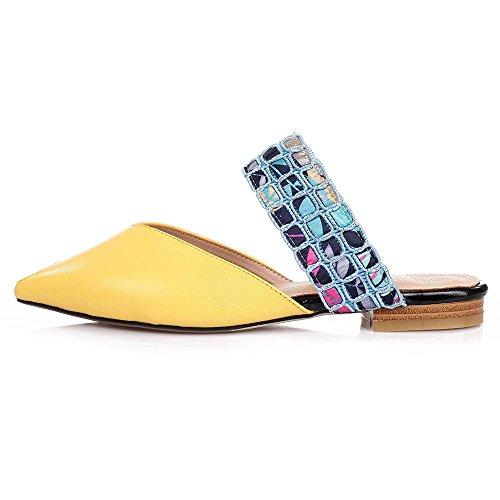 GJDE Sommerfreizeitschuhe kleine flache Sandalen und Pantoffeln weiblichen Fischkopf Mischfarben Strass Sandalen und Pantoffeln Yellow