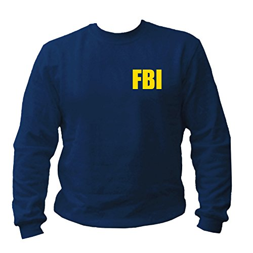 Nypd Hoodie Sweatshirt (shirtmachine FBI Logo Sweatshirt, Navy, Large)