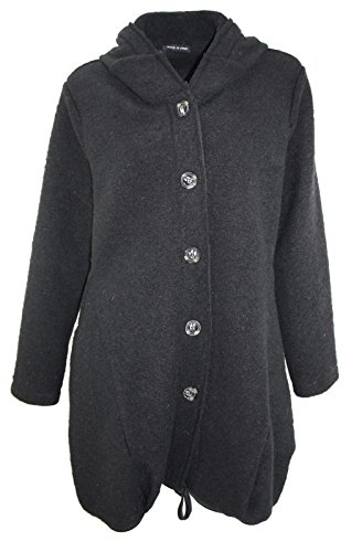 #4154 Damen Designer Mantel Winter Jacke Wintermantel Oversize Wolle Onesize 40 42 44 Beige Schwarz Grau Beige (Schwarz)
