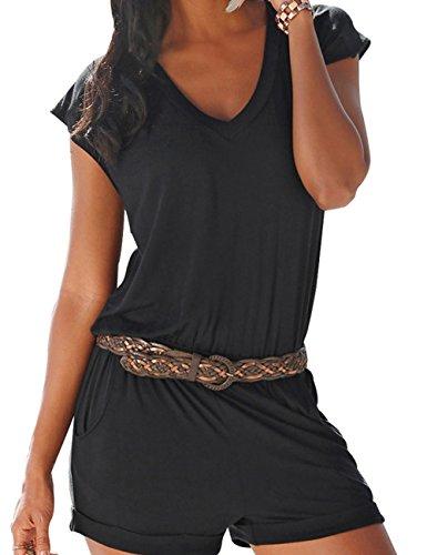 EMMA Damen Sexy V-Ausschnitt Sommer Strand Kurze Fashion Spielanzug Rompers Jumpsuits(BL,M)