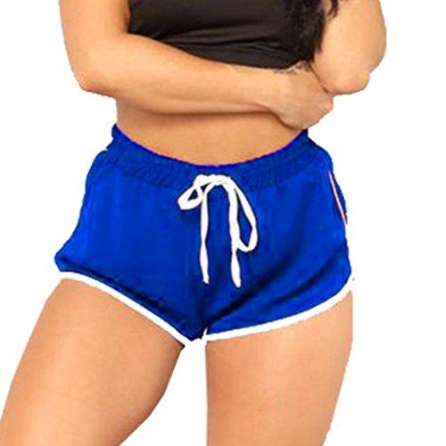 MOIKA Damen Hosen, New Frauen-hohe Taillen-Yoga-Hosen-Frauen-Verband-elastische Taillen-zufällige kurze Hosen(L2,Blau)
