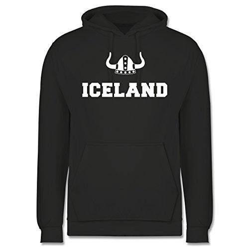 Länder - Iceland + Wikingerhelm - Männer Premium Kapuzenpullover / Hoodie Dunkelgrau
