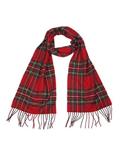 LOVARZI Lana bufanda Rojo - Escocés tartán bufandas para hombres y mujeres - Regalos de navidad