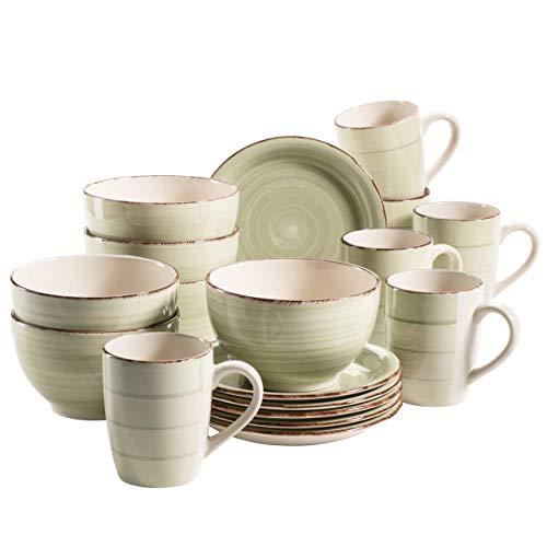 MÄSER 931490 Bel Tempo II Frühstück-Service für 6 Personen im Vintage Look, handbemalte Keramik, 18-teiliges Geschirr-Set, Grün, Steingut