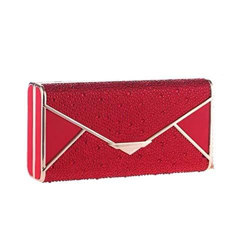 JUN Abendtasche Diamant Bankett Clutch Bag Damen Kette Small Square Bag Hartschalentasche Braut Tasche 19x9.5x4.5cm (Color : Red) -