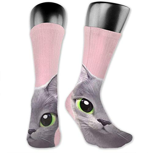 Green Eyes Cat Socks is Best Graduated Athletic & Medical for Men & Women, Running, Flight, Travels Yellow Socks