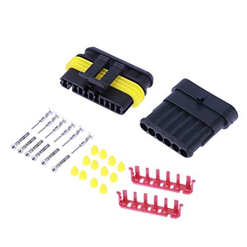 Vosarea 5-Teiliges Set mit 6 Pins, wasserfest, Elektrischer Anschluss für Auto, Motorrad, Plug Hid, Plug, Terminale, Schrumpfschlauch